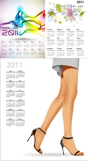 2011 calendar templates abstract nature fashion themes