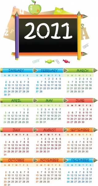 2011 calendar template education symbols decor
