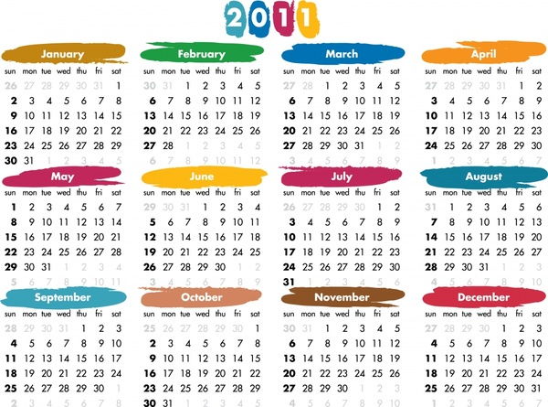 2011 calendar template bright simple colorful decor