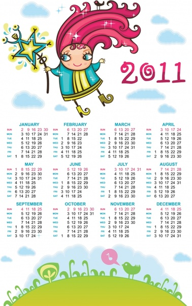 2011 calendar template cute cartoon girl sketch