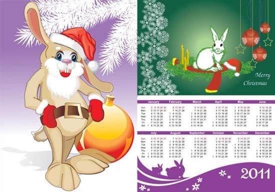 2011 calendar template cute rabbit xmas decor