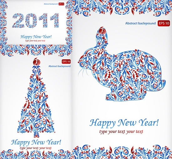 2011 new year banners rabbit fir tree sketch