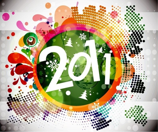 2011 New Year Floral Backgound Vector Graphic