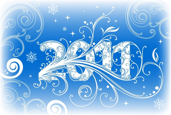2011 new year background blue white curves sketch