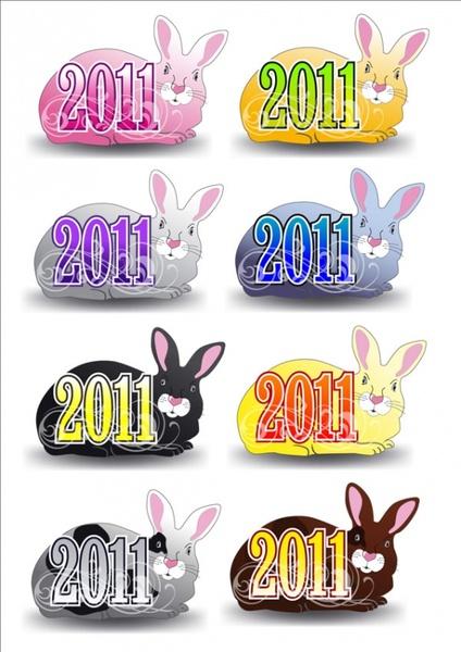 2011 rabbit pattern vector