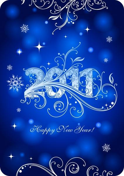 2011 new year banner bokeh blue curves decor