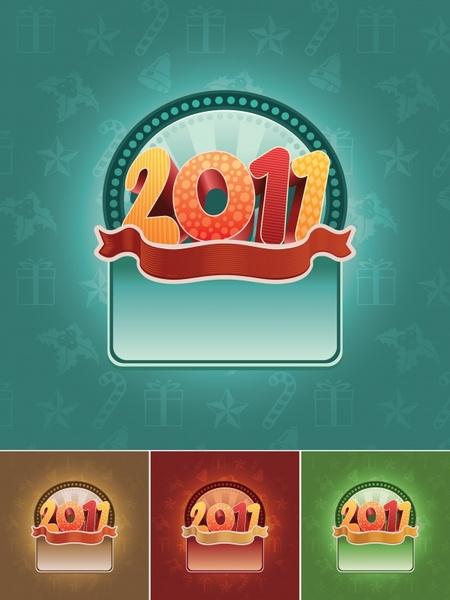 2011 new year templates shiny colorful digits ribbon