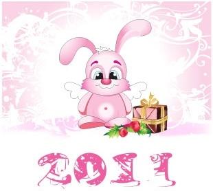 2011 vector cute angel rabbit