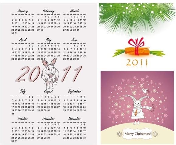 2011 year of the rabbit vector illustration calendar