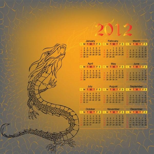 2012 year of the dragon calendar vector