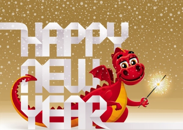 2012 year of the dragon design 01 vector