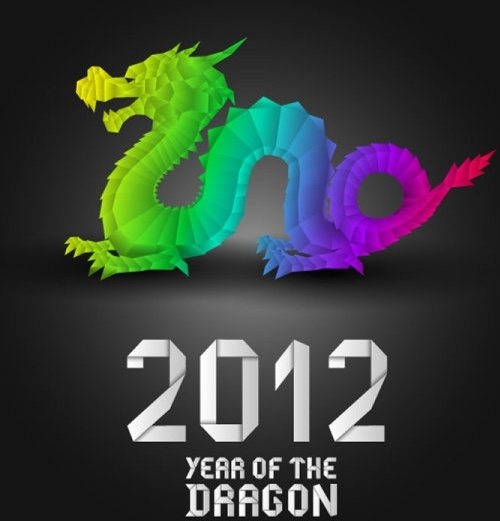 2012 year of the dragon design 03 vector