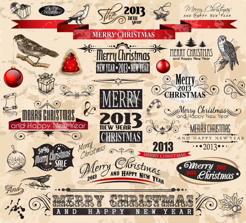 2013 christmas labels and decorative accessories vector - Decorative Christmas Labels