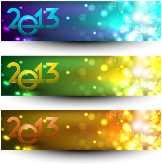 2013 happy new year theme banner vector