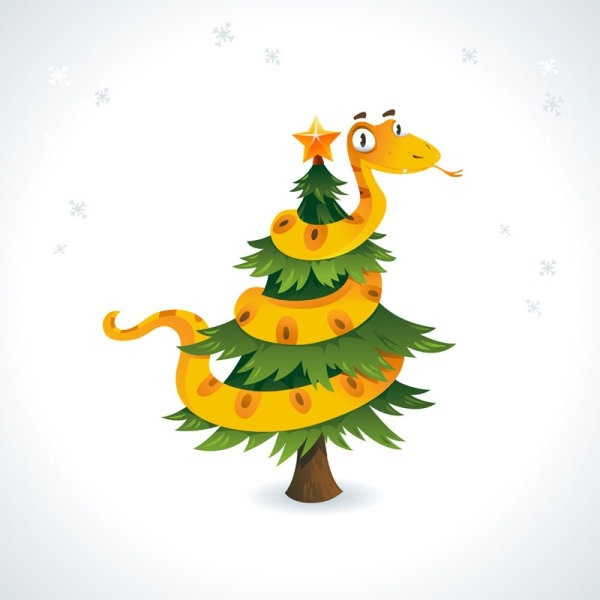 2013 year of the snake christmas cartoon background 02 vector