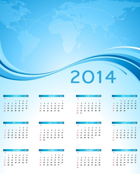 2014 calendar with blue world map vector graphic