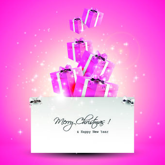 2014 christmas cute gift cards vector