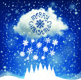 2014 christmas snowflake with cloud background