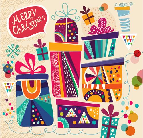 2014 cute cartoon christmas elements vector