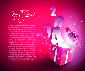 2014 gift box vector background