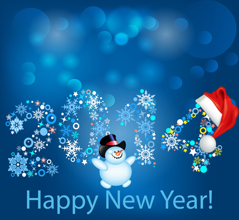 2014 happy new year backgrounds vector