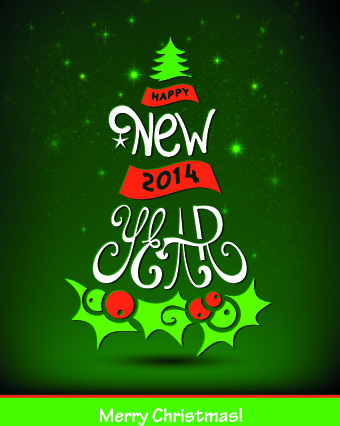 2014 happy new year design vector