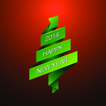 2014 happy new year green ribbon background vector