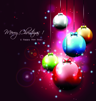 2014 new year christmas baubles background vector