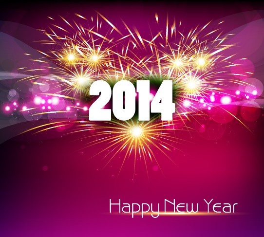 2014 new year text design background set