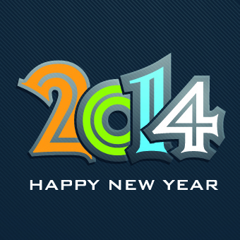 2014 new year text design background vector