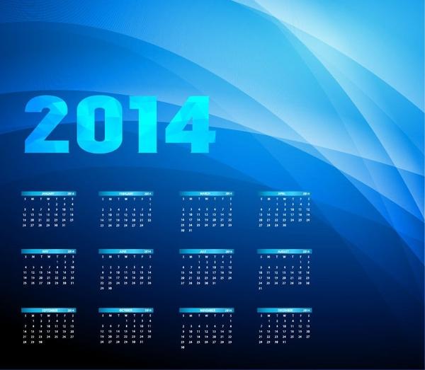 2014 year calendar on blue background vector illustration