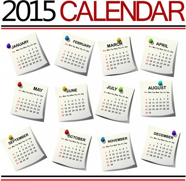2015 Calendar against white background