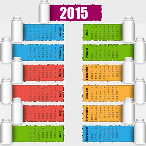 2015 calendar colored torn paper vector