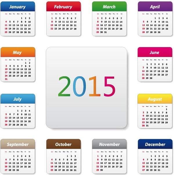 2015 calendar design vector illustration