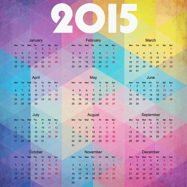 2015 calendar on colorful background vector illustration