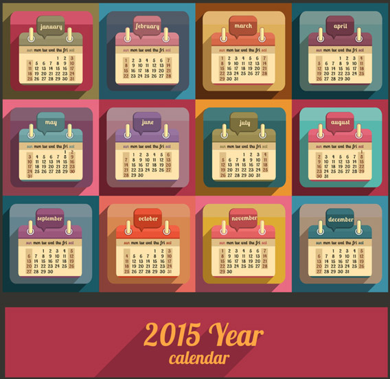 2015 calendar retro color styel vector