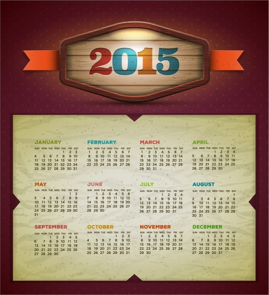 2015 calendar  Vector design template