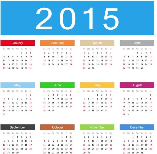 2015 calendar vector illustration