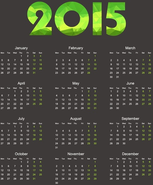 2015 calendar with geometric shapes vector illustration