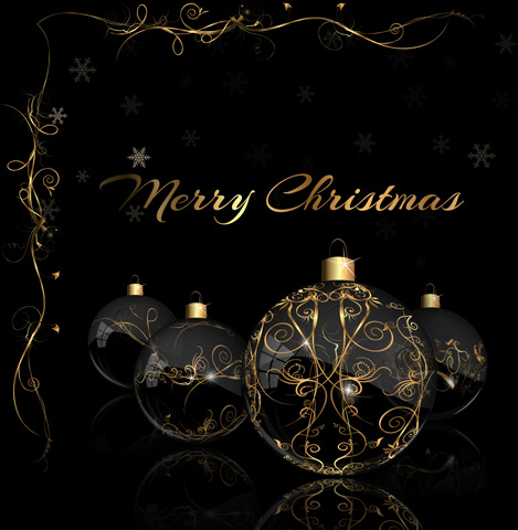 2015 christmas black background with glass baubles vector