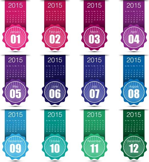 2015 grid calendar creative design vector