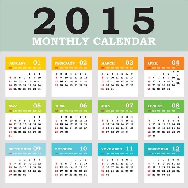 2015 grid calendar creative design vector Free vector in ...