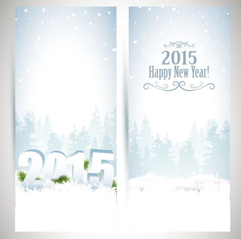 2015 new year banner with white snow vector