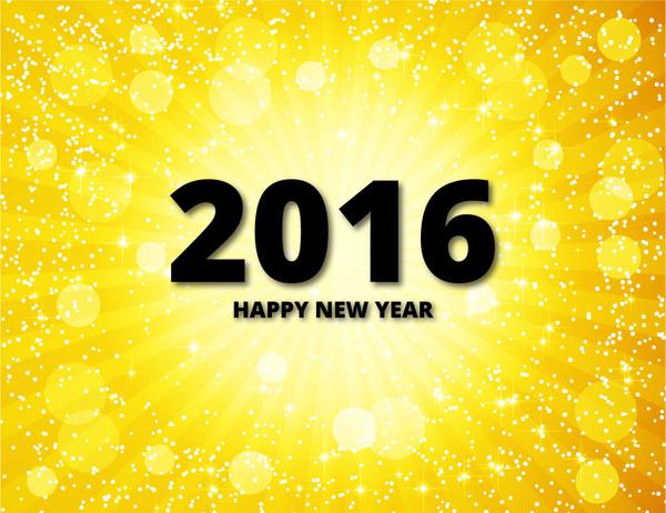 2016 happy new year golden background