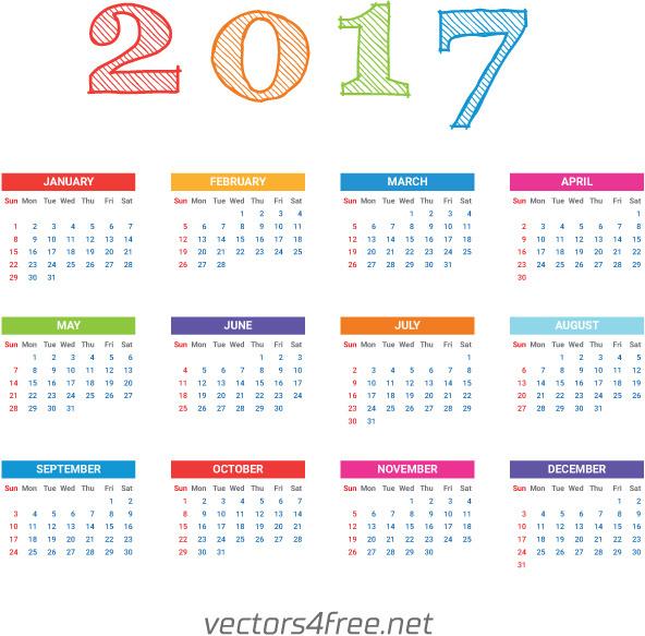 2017 calendar template vector free vector in adobe illustrator ai