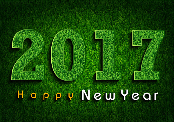 2017 green grass 3d happy new year