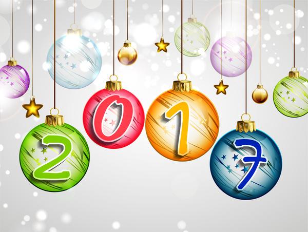 2017 happy new year hanging christmas ball