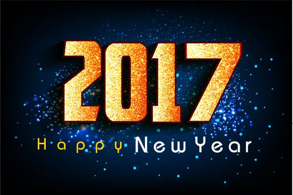 2017 New Year Card Design On Dark Background