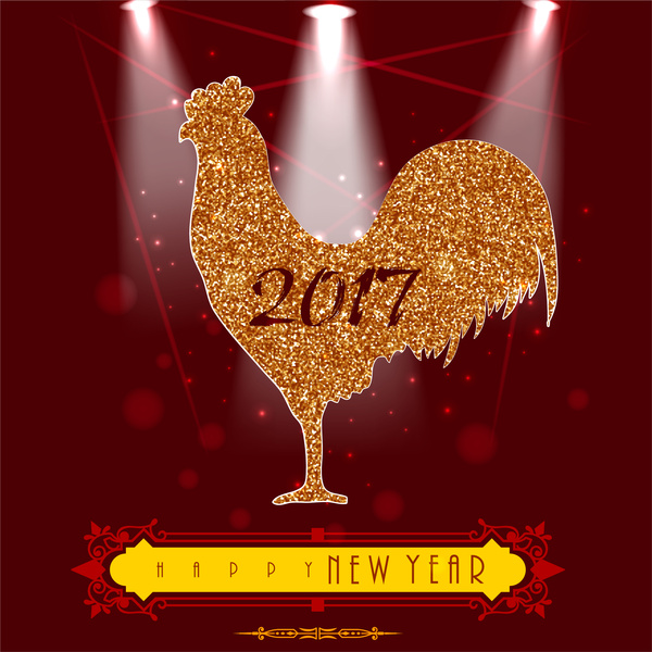 2017 new year template design with glossy rooster