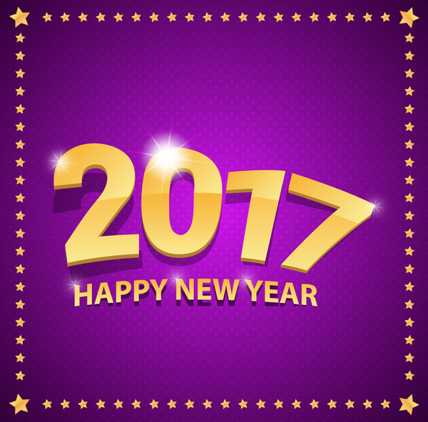 2017 new year violet banner with stars border